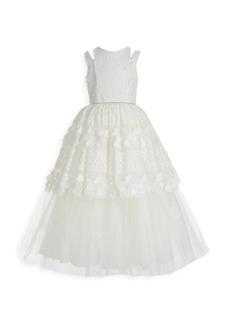 Badgley Mischka Girl's Lace Split Evening Gown