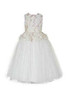 Badgley Mischka Girl's Sequin Mesh Peplum Gown