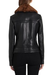Badgley Mischka Gracie Leather Jacket w/ Shearling Collar