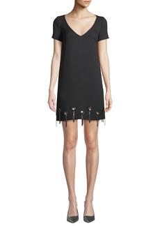 Badgley Mischka Grommet-Trim Short-Sleeve Shift Dress