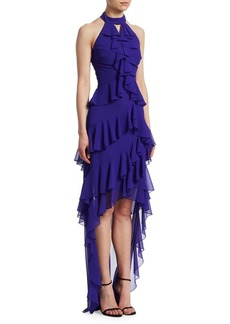 Badgley Mischka Halter Ruffle Gown