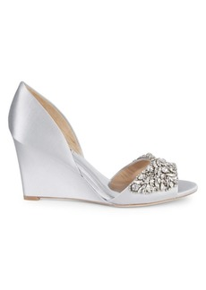 Badgley Mischka Hardy Embellished Satin Wedge Pumps