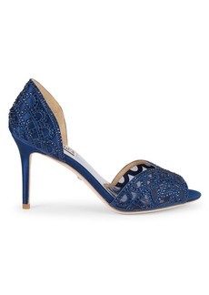 Badgley Mischka Harris Embellished Satin d' Orsay Pumps