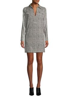 Badgley Mischka Herringbone Long-Sleeve Shirt Dress