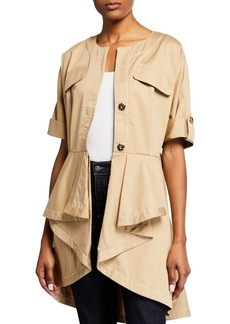 Badgley Mischka High-Low Pleated Jacket