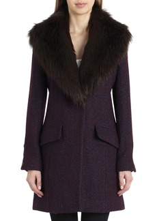 Badgley Mischka Holly Boucle Coat w/ Faux-Fur Collar