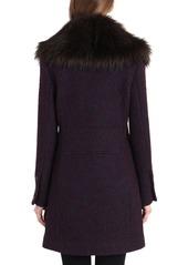 Badgley Mischka Holly Boucle Coat w/ Faux-Fur Collar