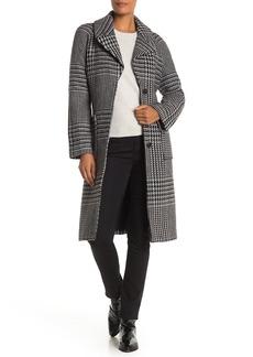 Badgley Mischka Houndstooth Belted Wool Blend Wrap Coat