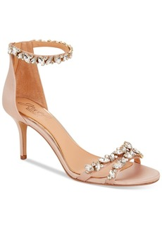 Jewel Badgley Mischka Caroline Embellished Ankle-Strap Evening Sandals Women's Shoes