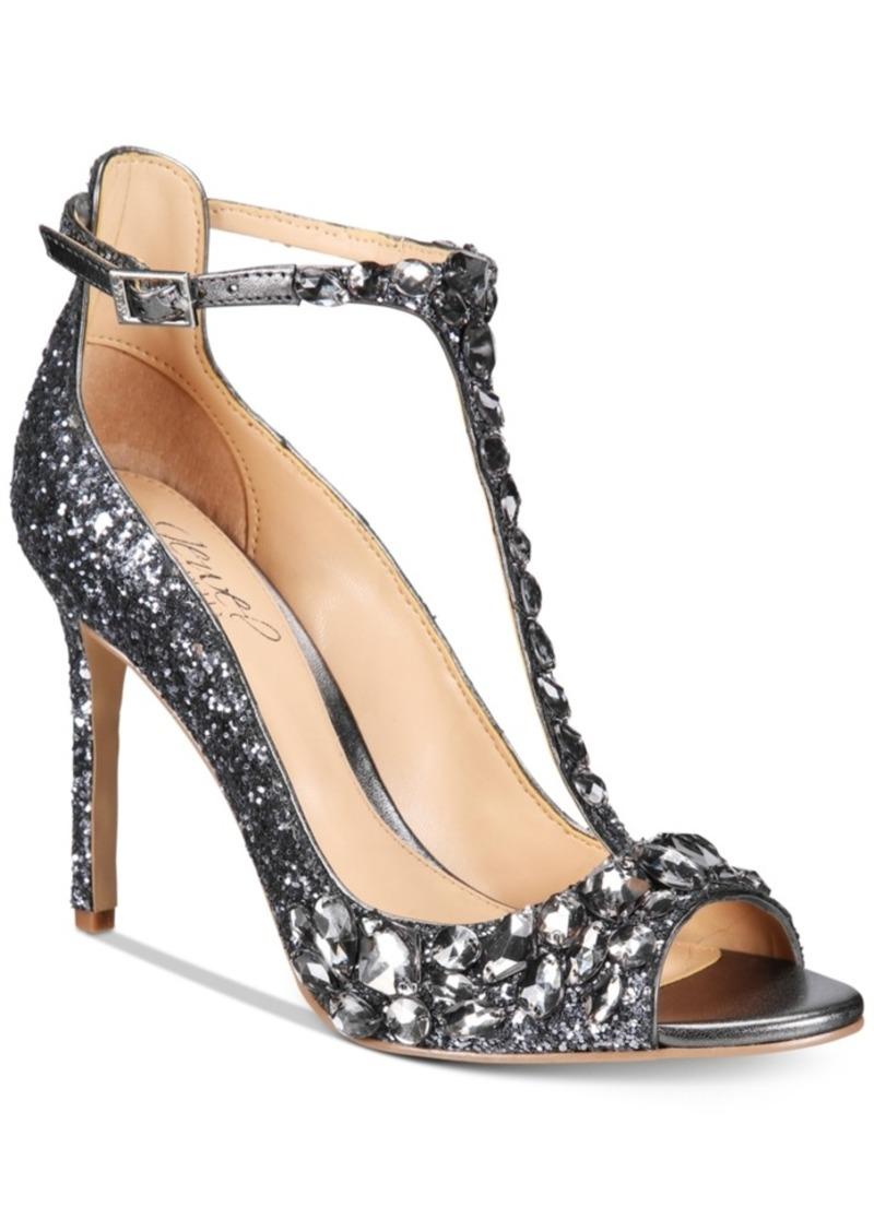 Jewel Badgley Mischka Conroy T-Strap Evening Sandals Women's Shoes