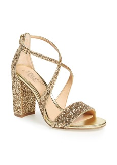 Jewel Badgley Mischka Cook Block Heel Glitter Sandal (Women)