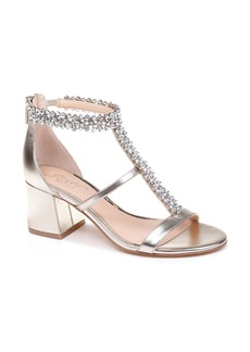 Jewel Badgley Mischka Janica Block Heel Sandal (Women)