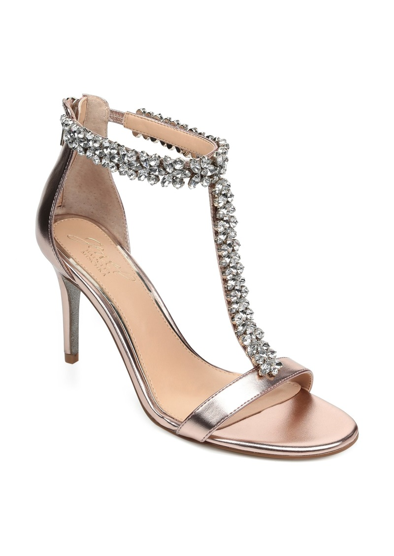 Jewel Badgley Mischka Janna Embellished T-Strap Sandal (Women)