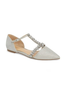 Jewel Badgley Mischka Maury Embellished T-Strap Flat (Women)