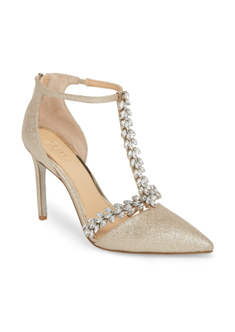 Jewel Badgley Mischka Meena Crystal Embellished T-Strap Pump (Women)