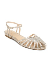 Jewel Badgley Mischka Perla Ankle Strap Flat (Women)