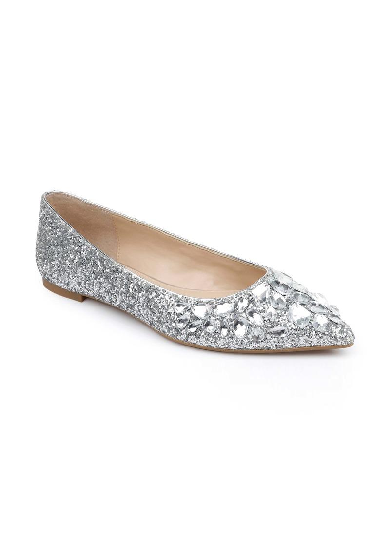 Jewel Badgley Mischka Ulanni Embellished Pointed Toe Glitter Flat (Women)