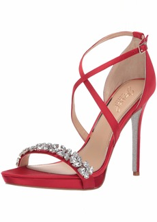 Jewel Badgley Mischka Women's DANY Sandal red satin  M US
