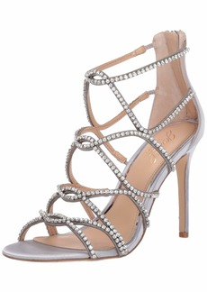 Jewel Badgley Mischka Women's DELANCEY Sandal silver satin  M US