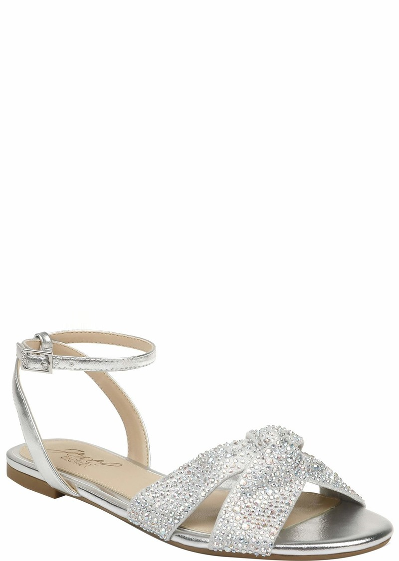 Jewel Badgley Mischka Women's Nicole Flat Sandal   Medium US