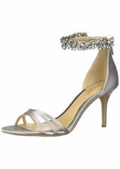 Jewel Badgley Mischka Women's ZAMORA Sandal silver satin  M US