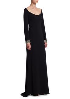 Badgley Mischka Jewel-Cuff Floor-Length Gown