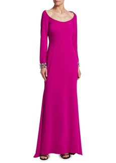 Badgley Mischka Jewel-Cuff Floor-Length Gown