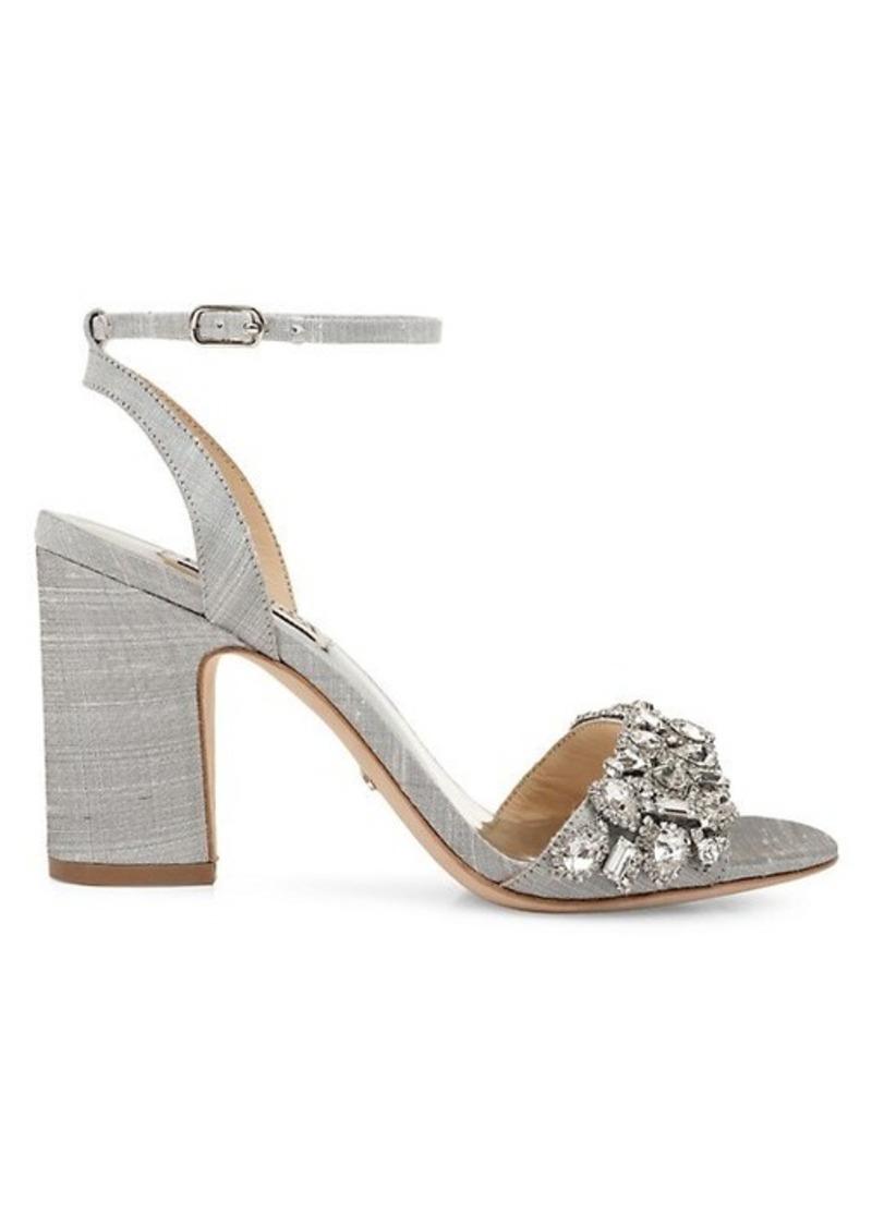 Badgley Mischka Jill Embellished Silk-Shantung Block Heel Sandals