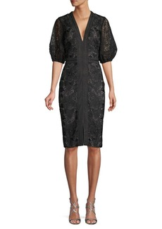 Badgley Mischka Lace Floral Embroidered Knee-Length Dress