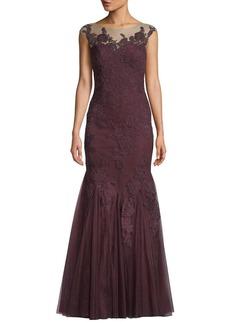 Badgley Mischka Lace-Illusion Mermaid Gown