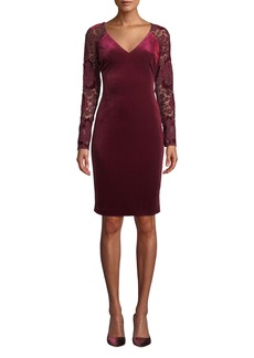 Badgley Mischka Lace Long-Sleeve & Velvet Dress