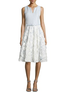 Badgley Mischka Lace-Skirt Sleeveless Cocktail Dress