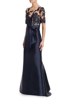 Badgley Mischka Lace Sleeve Gown