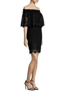 Badgley Mischka Lace-Trim Off-The-Shoulder Dress