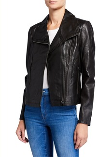 Badgley Mischka Lamb Leather Envelop Jacket