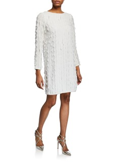 Badgley Mischka Laser-Cut Wave Long-Sleeve Metallic Edge Shift Dress