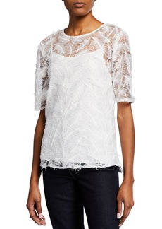 Badgley Mischka Leaf-Print Top