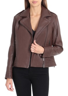 Badgley Mischka Leather Biker Jacket