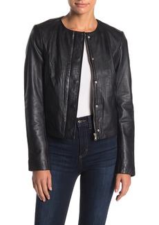 Badgley Mischka Leather Cropped Moto Jacket
