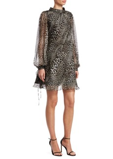 Badgley Mischka Leopard Print Long-Sleeve Silk Trapeze Dress