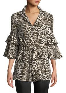 Badgley Mischka Leopard Self-Tie Anorak Jacket