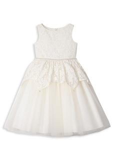 Badgley Mischka Little Girl's Lace Peplum Ballerina Dress
