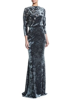 Badgley Mischka Long-Sleeve Blouson-Top Beaded Crushed Velvet Evening Gown
