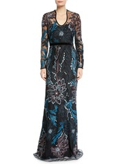 Badgley Mischka Long-Sleeve Floral Embroidered Gown