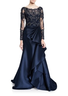 Badgley Mischka Long-Sleeve Lace Illusion Gown w/ Keyhole-Back & Mikado Ruffle Skirt