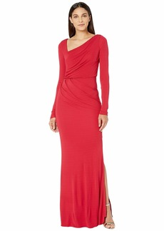 Badgley Mischka Long Sleeve Stretch Jersey Gown