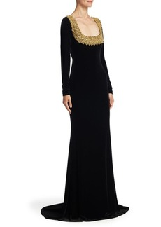Badgley Mischka Long Sleeve Velvet Floor-Length Gown