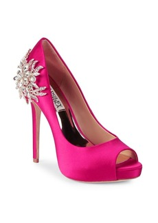 Badgley Mischka Marcia Embellished Peep Toe Pumps