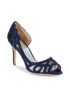 Badgley Mischka Marla Embellished Peep-Toe Pumps