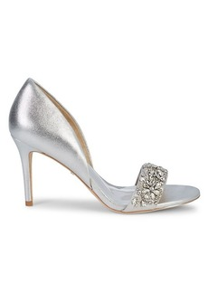 Badgley Mischka Metallic Leather & Crystal Sandals